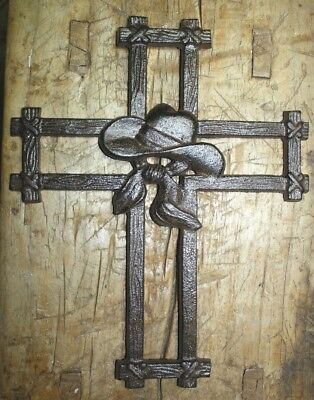 HUGE Cast Iron VICTORIAN Style COYBOY Hat Wall Cross Rustic Decorative Western