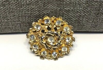 Vintage Small Gold Tone & Clear Rhinestones Flower Design Pin Brooch