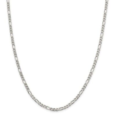 Sterling Silver 4mm Pave Flat Figaro Chain Necklace or Bracelet QFF100