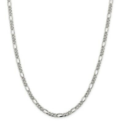 Sterling Silver 4.75mm Pave Flat Figaro Chain Necklace or Bracelet QFF120