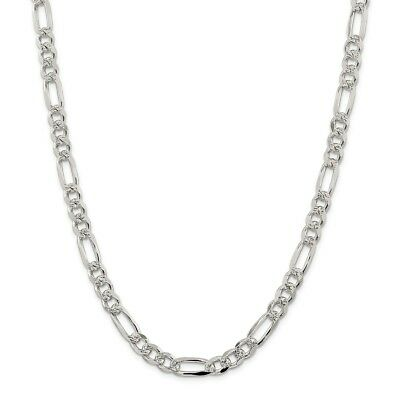 Sterling Silver 8mm Pave Flat Figaro Chain Necklace or Bracelet QFF220