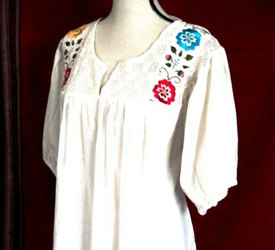 Mexican Peasant Blouse Ivory Espanola style Cotton Embroidered Flower Puebla 3XL