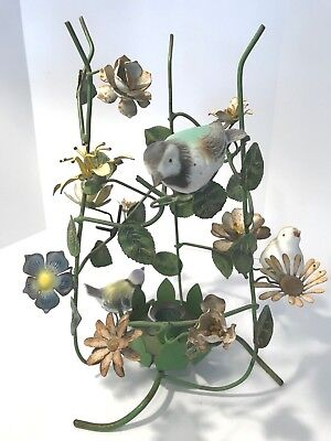 Vintage Patina Italian Floral Tole Candle Holder w/ Flowers & Birds Chickadees