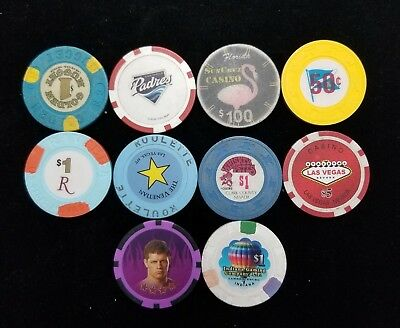 Mixed Lot of 10 Casino Hotel Chips #WB2-TWER94K