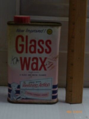 Glass Wax Vintage tin can, glass and metal cleaner,1940-1950's era