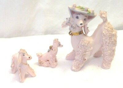 """Pink Poodle Mama In Hat And 2 Puppies Spaghetti Gold Trim 5"""" Tall Vintage Japan"""