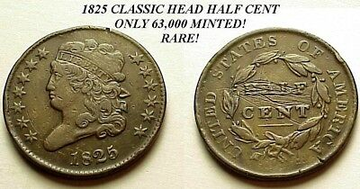 Rare 1825 Classic Head Half Cent-Only 63,000 Minted! X/f Details! Free Shipping!