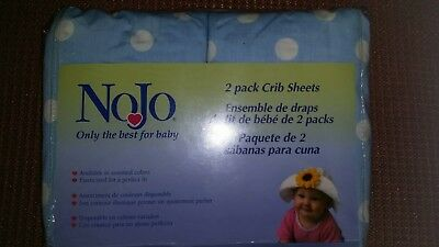NoJo Set Of 2 Crib Sheets New in package ~ Light Blue with white polka-dots.