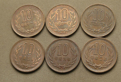 Group Of 6  Japanese 10 Yen Mixed Dates Some Have Lustre Nice Coin's Japan #roe5