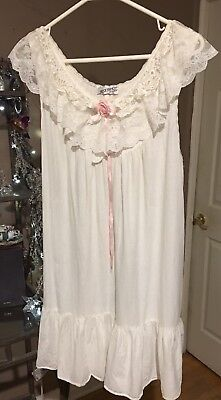 Vintage Lily Of France Sweet Cotton Nightgown Dress Lace Ribbon Rosebud