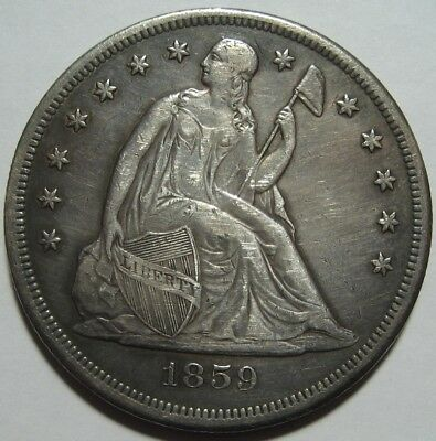 = 1859-O XF+ SEATED Dollar, Nice Details, Mintage 360K, FREE Shipping