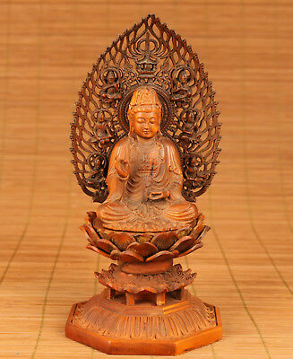 Rare Antique Chinese Old Boxwood Handmade Carved Buddha kwan-yin Figure Statue