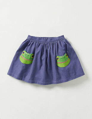 NWT Mini Boden girls Animal Pocket skirt skirt 6-7 9-10 Frog purple corduroy new