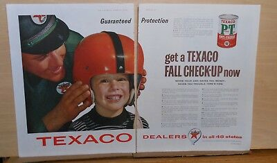 Two page 1957 magazine ad for Texaco - boy in football helmet, Fall Checkup time