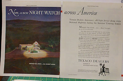 1940 two page magazine ad for Texaco - Texaco dealers open all night in Summer