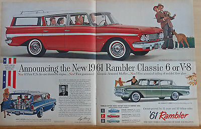 1960 double page magazine ad for Rambler Classic - Custom Cross Country, plus