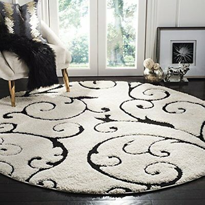Florida Collection Scrolling Vine Ivory Black Graceful Swirl Round Area Rug