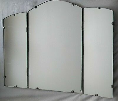 Vintage Folding 3 Panel Vanity Heavy Frame Tri-Fold MIRROR Standing or Wall