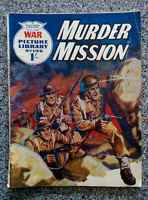 """War Picture Library """"MURDER MISSION""""  #196 dated 1963"""