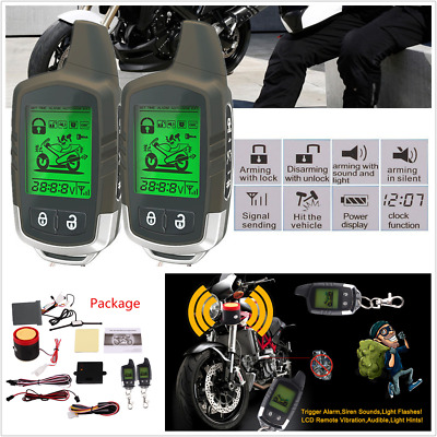 Motorcycle 2 Way LCD Alarm Remote Engine Start Immobiliser Microwave Sensor Set