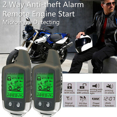Motorcycle Alarm System Immobiliser 2Way LCD Pager Remote Start Microwave Sensor