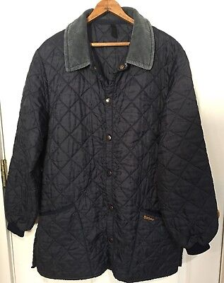Barbour Men's Liddesdale Navy Blue Quilted Jacket Coat Size Medium