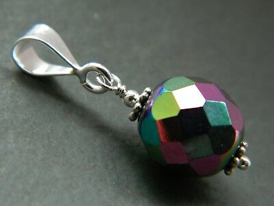 Vintage Art Deco Faceted Carnival Glass Bead & 925 Sterling Silver Pendant