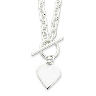 Sterling Silver Engraveable Heart Toggle Necklace 18""
