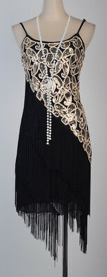 20sGatsby 1920's Flapper Cocktail Charleston Dress Fringed Plus Size Black Gold