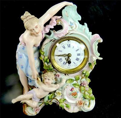 Antique Sitzendorf Porcelain Clock Figurine Of Lady & Cherub 8 Day Movement