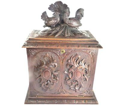 "N513 ANTIQUE 19TH CENTURY BLACK FOREST CABINET BOX CHICKENS - 50cm 19 5/8"" tall"