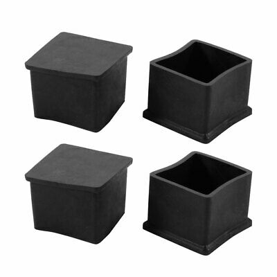4pcs 37x37mm Black PVC Rubber Square Cabinet Chair Leg Insert Cover Protector