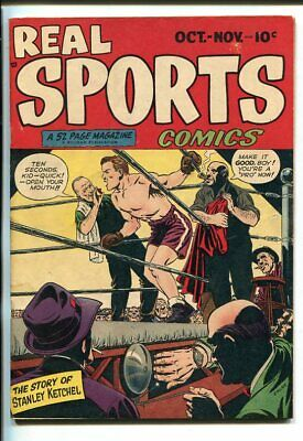 REAL SPORTS #1-1948-BOXING-HOCKEY-POWELL ART--SOUTHERN STATES PEDIGREE-fn-