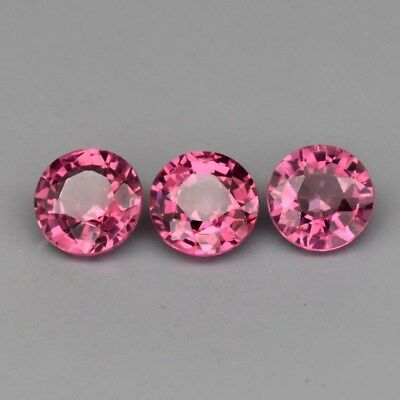 3pcs Lot 1.46ct t.w 4.8mm Round Natural Medium Purplish Pink Rhodolite Garnet