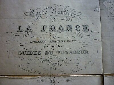 superbe carte routiere de france Guides du Voyageur 1838 Firmin Didot Paris