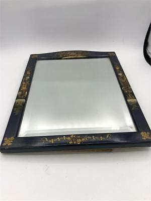 Antique Lacquered 19th Century Chinese Bevel Edged Mirror. Wonderful Item.