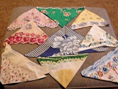 VINTAGE Handkerchief Lot of 21 Pieces Floral, Lace, Embroidery Most All Cotton