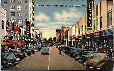 Fl Postcard Clematis Street Downtown West Palm Beach Florida Mccrorys Old Cars