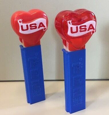 2 x PEZ USA Heart (1 x Crystal red, 1 x rot)