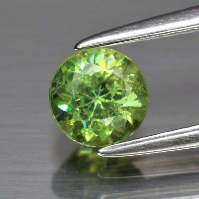 0.68ct 5mm Round Brilliant Natural Medium Yellowish Green Demantoid Garnet