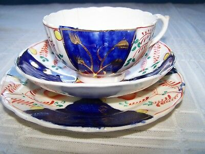 Antique Victorian Gaudy Imari Welsh Pottery Tea Cup Trio