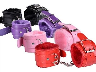 Full Color Quality Faux Leather & Fur Dungeon Restraint Wrist Cuff AnkleCuffs