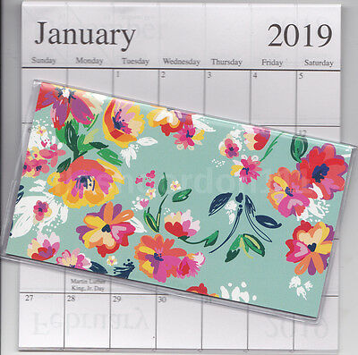 1 - 2018-2019 GREEN FLORAL 2 Two Year Planner Monthly Pocket Calendar Datebook