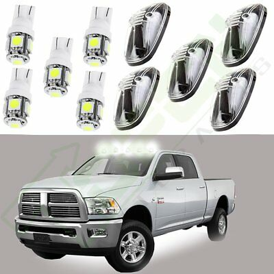 5/Set Clear Cab Marker Cover + White Led Light Bulbs 5050 SMD for 99 00 02 Dodge