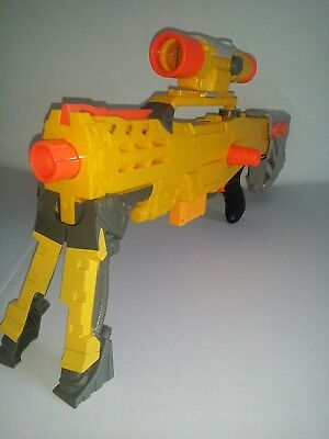 Nerf N-Strike Yellow Longshot Cs-6 Sniper Rifle With Scope And Clips Working