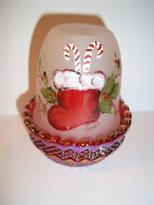 Mosser Glass HP Christmas Stocking Holly Ruby Red Carnival Base FAIRY LIGHT LAMP