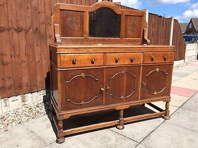 Arts and Crafts antique oak sideboard cupboard drawers