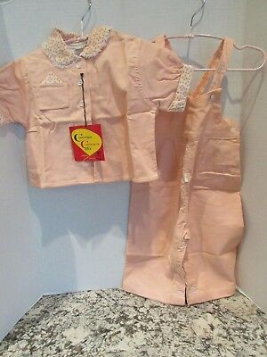 Vintage 1950s Toddler Girl Doll Pink Corduroy Outfit Set XL Chandler Fashion