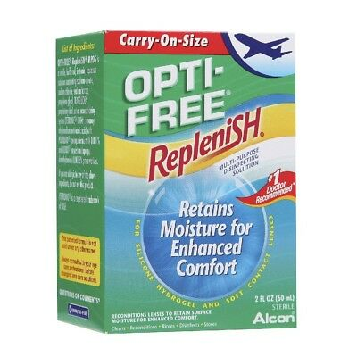 Alcon Opti-Free Replenish Contact Lens Solution Flight Travel 3 6 Month Supply