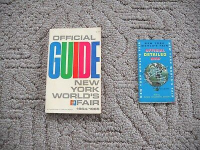 Lot Of 2 1964 / 1965 New York World's Fair Items - Official Guide  &  Map